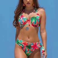 Bikini sexy Donne Stampa Costumi da bagno floreali Push Up Brasiliano Brasiliano Push Up Halter Bikini Set Abiti da bagno Plus Size Swimwear femminile XXL