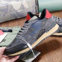 RockRunner Zapatillas de camuflaje para hombre Diseñador de lujo Sneaker Genuine Leather Men Flats Casual Trainers Tamaño superior 39-46