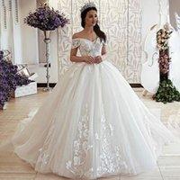 2021 Arabric Lace Princess Ballkleid Brautkleider für Braut Applikationen Land Stil Brautkleider plus Größe