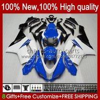 Kroppsarbete för Kawasaki Ninja ZX-600 ZX 6R 600 CC 600cc 6 R 07-08 Body 10No.119 ZX-6R ZX600C ZX636 2007 2008 ZX 636 ZX600 ZX-636 ZX6R 07 08 Motorcykel Fairing Kit Blue White Stock