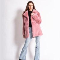 Women's Fur & Faux 2021 Winter Women Elegant Pink Fake Coats Plus Size 4XL Luxury Mink Coat Woman Jacket