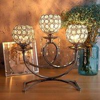 Candelabros de 3 brazos de cristalinos de cristal adornos para la mesa de comedor de boda Decoración del hogar de la fiesta de Navidad