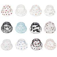 Детские марлевые ковры шляпы кружева дышащая широкая большая шляпа шляпа летом цветок вышивка крышка открытый мальчик и девочка Sunhat 2021 дизайн колпачки wmq1319