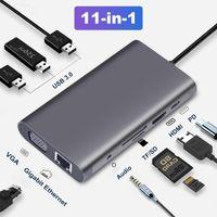 USB 3.0 HUB USB C HUB Type C to Multi HDMI 4k VGA RJ45 Lan Ethernet Adapter Dock for MacBook Pro Type c docking station
