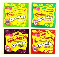 4 types 500 mg de cannaburst emballages sacs vides Gummmies Gummmies Sac d'emballage Soulier à l'odeur Souffre de la fermeture à glissière à glissière de Candy Mylar Baggies