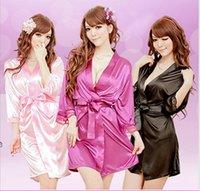 섹시한 란제리 세트 기모노 드레스 + G-String 실크 레이스 잠옷 잠옷 섹시한 세관 탑 여성 윈저 아기 인형과 섹스 스트링 겉옷 속옷