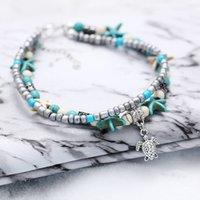Bohemian Starfish Tortue Anklets pour femmes Boho Elephant Owl Charm Beads Chaîne en pierre Bracelet de la cheville sur la jambe Bijoux 512 T2