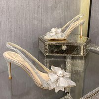 Sandals Summer Butterfly Pearl Stiletto Crystal Bridal Wedding Shoes Large Size Small Banquet Dress All-match Female