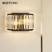 Luxe E14 LED Crystal Wall lampe designer sélectionné Sconce Sensible courbé Chambre à coucher moderne Noir Intérieur Luminarias