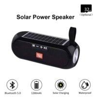 TG182 الطاقة الشمسية بنك بلوتوث المتكلم المحمولة العمود ستيريو اللاسلكية مربع الموسيقى TWS 5.0 دعم في الهواء الطلق TF / USB / AUX