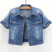 Women's Jackets 2021 Summer Short-sleeved Denim Cardigan Jacket Women Turn Down Collar Short Slim Jeans Coat Female