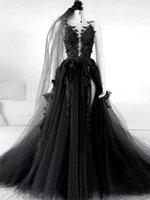 Black Gothic Wedding Dresses Sleeveless Bridal Gown vestidos de novia 3D Floral Applique Side High Slit Custom Made Tulle Plus Size