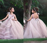 Lovely Pink Princess Ball Gown Pageant Dresses for Little Girls Bow 3D Flowers Beaded Lace Appliques Baby Kids Birthday Formal Wear Backless Flower Girl Dress AL8965