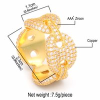 New Hip Hop Colorful AAA CZ Cubic Zirconia Bling Iced Out Coffee Bean Finger Ring Marine Link Chain Jewelry for Men Women Anillo Punk Party Gifrs