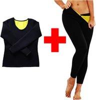Lazowg Women Sauna Pérdida de peso Sudaderas Camisetas Diseño de moda Adelgazante Neopreno Cuerpo caliente Shaper Leggings Trajes de sudor de sudor caliente Conjuntos
