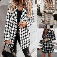 Kadın Moda Ekose Houndstooth Baskı Uzun Ceket Yaka Trençkot Palto Kış Faux Yün Ceket Kadın Abrigos Mujer1