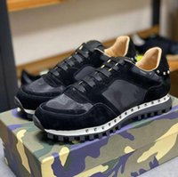 Moda Top Quality Camuflagem Camuflagem Sapatilhas Mulheres Rebite Sapatos Studded Flats Malha Camo Camurça Couro Casual Trainers Rockrunner Chaussures