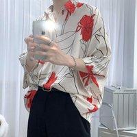 قمصان رجالية بأكمام قصيرة 2021 الصيف نمط مطبوعة طوق مربع فضفاض عارضة زهرة قميص الحرم الجامعي الشباب أزياء الرجال