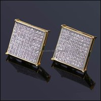 Jewelrymens Hip Hop Stud Earring Copper Material Fl Rhinestone Pave Bling Ice Out Square Earrings Men Rock Jewelry Gold Color Drop Delivery
