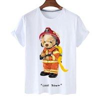 Women's T-Shirt DX100657 Summer Design Anti-Pilling Cartoon Fireman Bear Printing Pure Color Sports Short Sleeve For Woman
