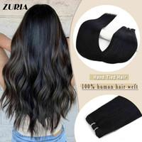 """Zuria Remy Weft Naturlig osynlig Rak vävning Bundl 20 24 """"100g per dator Handbundna hår Virgin Real Hair Extensions"""