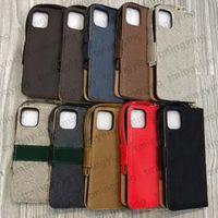 Casos del teléfono de la cartera de la tapa para el iPhone 12 Mini 11 Pro MAX XS XR X 8 7 Plus Funda de cuero con flip de lujo Cubierta de concha de teléfono celular en relieve