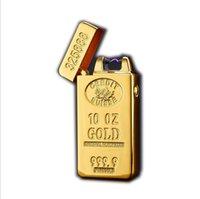 Klassische Goldstangen Elektrische Pulsbogen-Feuerzeug USB-Zigaretten-Business-Feuerer-Box Raucher-Tool-Zubehör