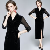 Sexy Slim Velour Red Bodycon Dress Runway 2021 Designer Graceful 3 4 Sleeve Lapel Sashes Holiday Prom Office Ladies Blazer Dresses Autumn Winter Sweet Women Clothes