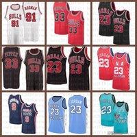 2021 Yeni Basketbol Forması ChicagoBoğa Mens 23 Michael Scottie 33 Pippen Mesh Retro Dennis 91 Rodman Gençlik Çocuklar Beyaz