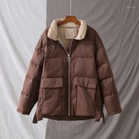 2020 neue mode winter kurze weiße duck hintere jacke weibliche licht lose dick down mantel warm lässig groß größe outwear1