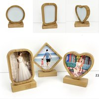 Bamboos Sublimation Blank Photo Frame con Base Double Sided Legno Love Heart Round Frames Magnetism Picture Pittura Decorazione HWB9067