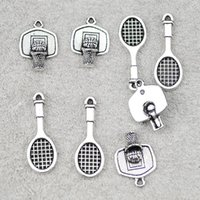 Charms 20pcs Tennis Racket Basketball Stand For Earring Bracelet Necklace Making Jewelry DIY Handmade Accessory,With Free O-ring