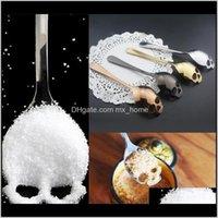 Kaşıklar Tatlı Kaşık Gıda Sınıfı Çelik Şeker Scoop Mutfak Yaratıcı Paslanmaz Kahve Kafatası Çatal Sofra Şeker Teaspoon WMTKP MO2J2 PA8HT