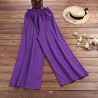Losse brede beenmode dames pant katoen linnen broek elastische taille pure kleur lace up casual lente zomer modellen