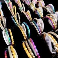 2mm 50sets lot Bulk Lot Woman 3pcs Ring Sets 3 in 1 Women Elegance Charm Rings Female Fashion Jewelry Gold-silver-rainbow Wholesale Lots