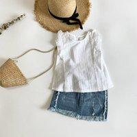 Ouyangivan verão casual algodão menina blusa meninas sem mangas camisa branca camisas