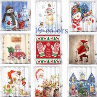 Рождественские занавески для душа Санта-Клаус Снеговик Новый Водонепроницаемый 3D Цифровая Напечатанные Ванные Шторы Украшения с крючками 180 * 180см HH7-230