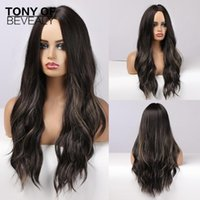 Long Wavy Black Wigs With Blonde Hightlight Middle Part Heat Resistant Synthetic For Afro Women Daily Cosplay Natural