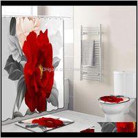 التبعي 4 قطع الأنيقة الزهور نمط دش المرحاض غطاء حصيرة nonslip البساط مجموعة الحمام للماء حمام الستار مع 12 السنانير 2nizt FD7J6