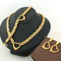 Mode 8m 11m kedja smycken rostfritt stål hjärta länk halsband armband örhängen sätter högkvalitativ scazbnea