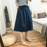 Robes décontractées 2021 Harajuku Jupes d'été Harajuku Poche haute taille A-Line Femme Femme Lâche 100% coton Jupe de coton Filles Streetwear 3R