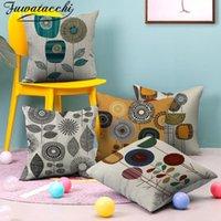 Cojín / almohada decorativa Fuwatacchi Cubierta de ropa de lino geométrica Diente de león Cubiertas de silla Impresas Decoración Sofá Hogar Tirar Pillowcasas 4c
