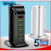 Elough 5 Port USB Charger Hub LED Exibição Multi USB Charging Station Dock Universal Telefone Móvel Desktop Wall Home UE US UK Plug
