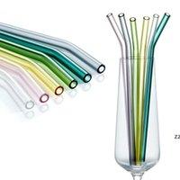 الملونة قابلة لإعادة الاستخدام الزجاج القش مستقيم بيند عالية البورسليكات الزجاج صديقة للبيئة شرب القش ل كوكتيل عصير الحليب hwe10091