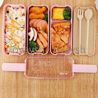 مواد صحية مربع الغداء 3 طبقة 900 ملليلتر القمح القمح بينتو صناديق الميكروويف أواني الطعام تخزين الحاويات الغذائية