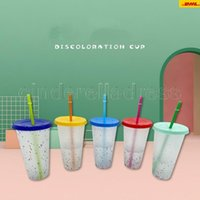 24oz Color Changing Confetti Cup Magic Plastic Drinking Tumblers with Lid and Straw Reusable Cold Cup Summer Beer Mugs CA16 50pcs