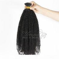 Brasilianische birmanische natürliche Farbe Afro Kinky Curly 4b 4c 3b 3c Vorgebundener Keratin Fusion I Tip Rohe Jungfrau Remy Human Hair Extensions