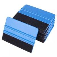 1pc Auto Styling Vinyl Fiber Fiber Window Ice Remover Remover per lavare il raschietto per auto con tappo a slittini Felt Film Wrapping 10x7cm