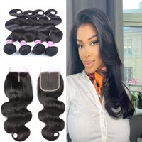10A Remy Brazilian India Hair Bundles With Lace Closure 4x4 100% Unprocessed Body Wave Human Hair Weaves