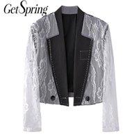 GESPRING Frauen Blazer Spitze Nähen Frau Anzug Fake Zwei Damen Schwarz Mantel Mode Kurzer Damen Slim Jacke Anzüge Blazer
